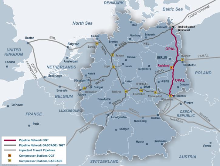 Plynovod Opal navazuje na Nord Stream 1, a přivádí tak ruský plyn přes Německo na hranice ČR. Zdroj: opal-gastransport.de