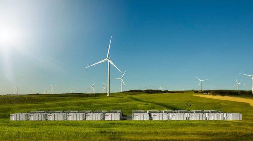 Vizualizace bateriového úložiště, které Tesla plánuje vybudovat v Jižní Austrálii. Zdroj: Tesla