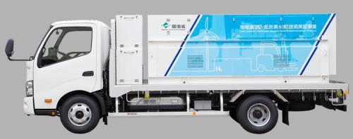 Vodíkový nákladní automobil Iwanti, sloužící k transportu vodíku k místu spotřeby. Zdroj: http://www.iwatani.co.jp
