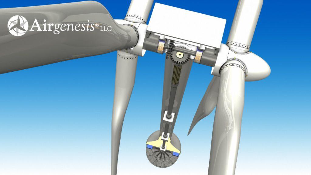 Ilustrace konstrukčního řešení dvourotorové větrné elektrárny Airgenesis. No obrázku je vidět společná hřídel rotorů, hřídel v tubusu a generátory umístěné u země. Zdroj: http://www.airgenesiswind.com/