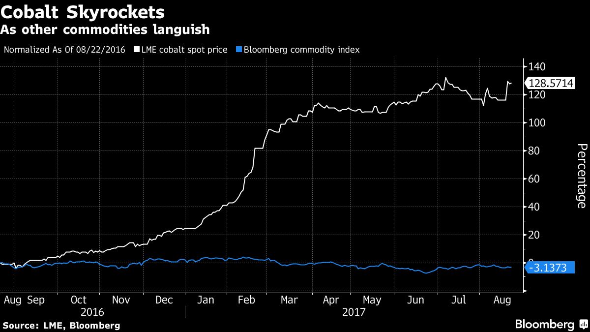 Procentuální nárůst cen kobaltu ve srovnání s komoditním indexem agentury Bloomberg. Zdroj: Bloomberg