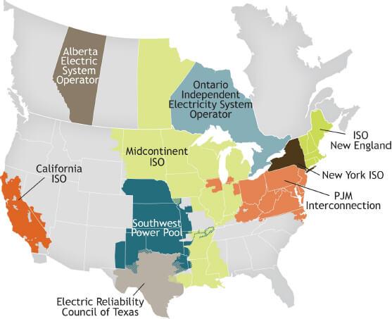 Provozovatelé přenosových soustav v Severní americe. Zdroj: CAISO
