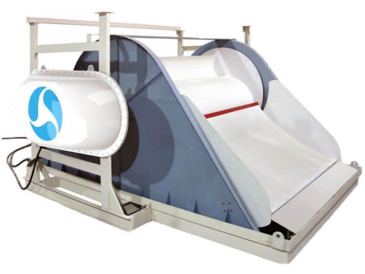 Waterotor vodní turbína pro pomalu tekoucí řeky. Zdroj: http://waterotor.com/