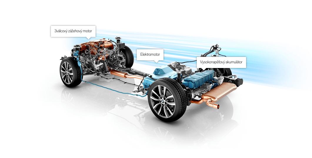 Schema pohonu plug-in hybridní BMW 225xe ActiveTourer, zdroj: BMW.cz
