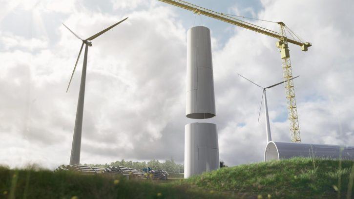 Modulární konstrukce stožárů větrných elektráren. Zdroj: modvion.com