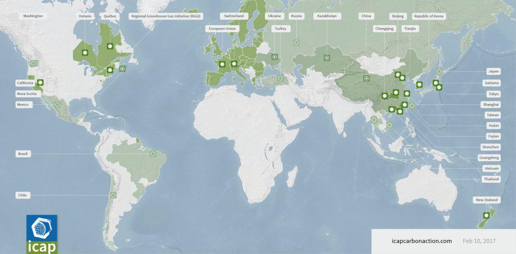 Systémy emisního obchodování ve světě. Zdroj: ICAP