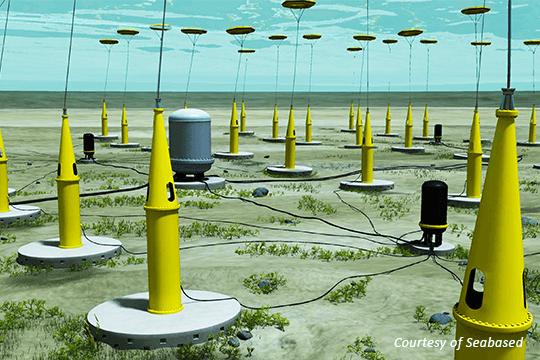 Vizualizace konceptu technologie vlnové elektrárny Seabased. Zdroj: seabased.com
