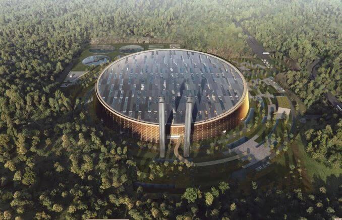 Plánované největší ZEVO na světě Shenzhen East v Číně. zdroj: www.gottliebpaludan.com
