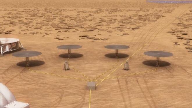 Čtyři reaktory Kilopower na marsovské stanici v představách malíře (NASA/Kilopower)