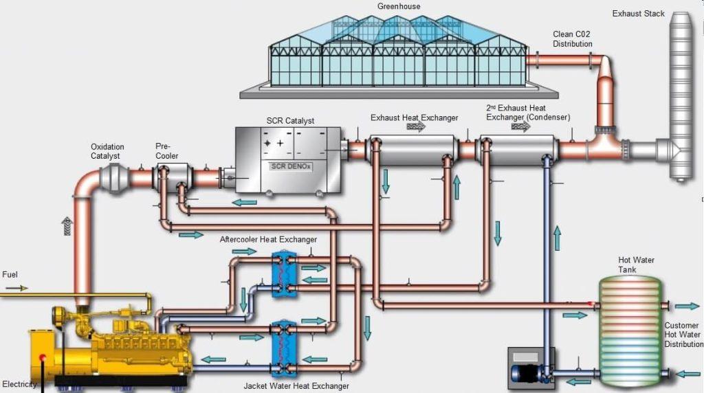 Kogenerační jednotky řady G3500H nacházejí uplatnění ve velkokapacitních sklenících.