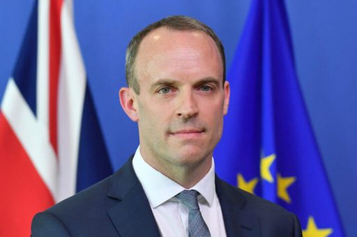 "Britain's Secretary of State for Exiting the European Union (Brexit Minister) Dominic Raab is pictured during a joint press conference with EU's chief Brexit negotiator at the European Commission in Brussels on July 19, 2018. - Britain's new Brexit negotiator Dominic Raab said on July 19 he planned on ""intensifying"" the withdrawal negotiations as he met his EU counterpart for the first time. (Photo by JOHN THYS / POOL / AFP) (Photo credit should read JOHN THYS/AFP/Getty Images)"