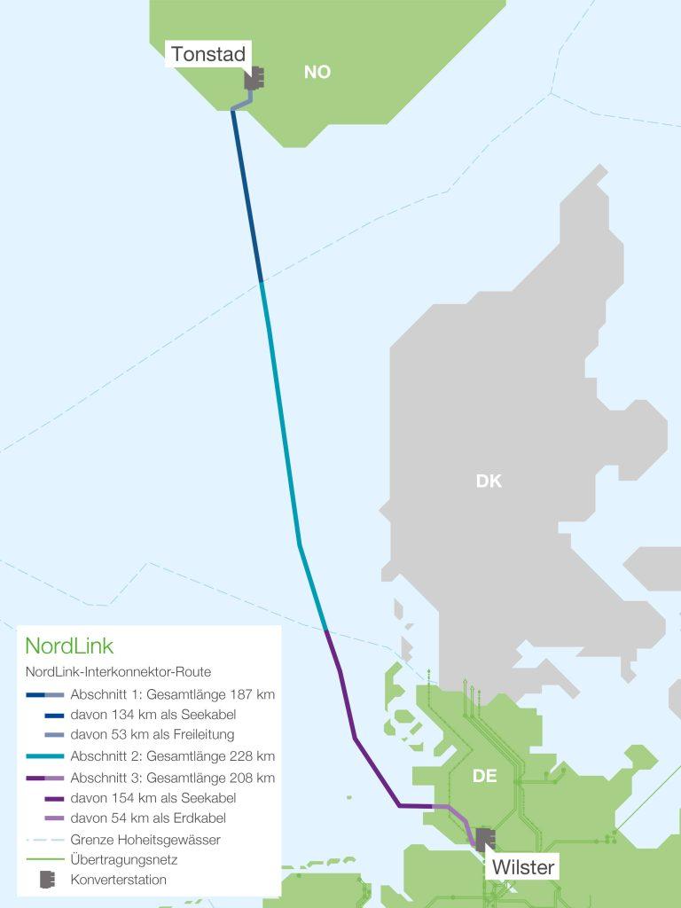 Trasa HVDC vedení NordLink. Zdroj: TenneT