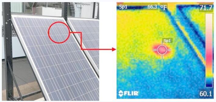 Horká místa na fotovoltaických panelech nejsou běžně viditelná. Jejich přítomnost může snadno odhalit termokamera. Zdroj: www.hud.ac.uk