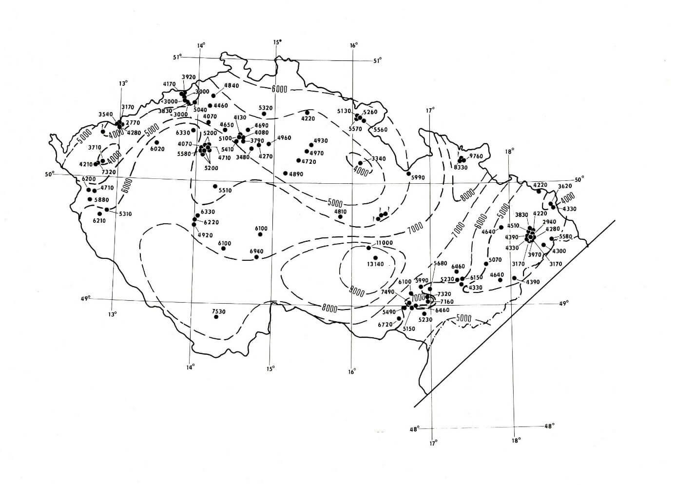Prognóza hloubek (v metrech) teploty 130 oC na území České republiky (zdroj V. Čermák aj. Šafanda, 1982).