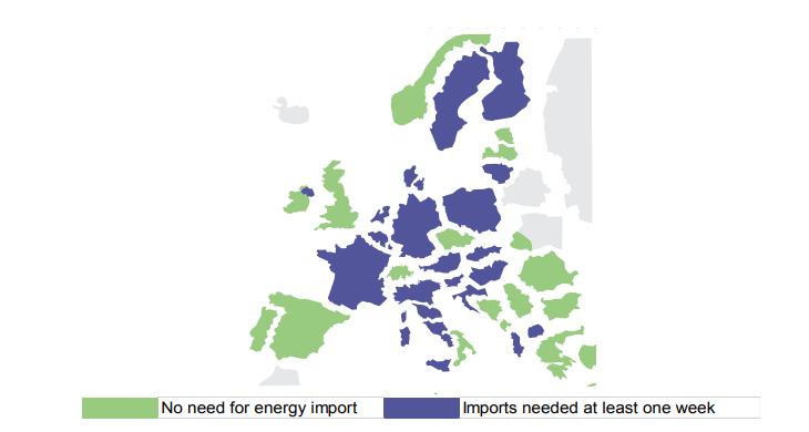Při mrazivém počasí a nevhodných podmínkám pro výrobu elektřiny z OZE by se k dovozu elektřiny musela uchýlit řada evropských zemí. Zdroj: ENTSO-E