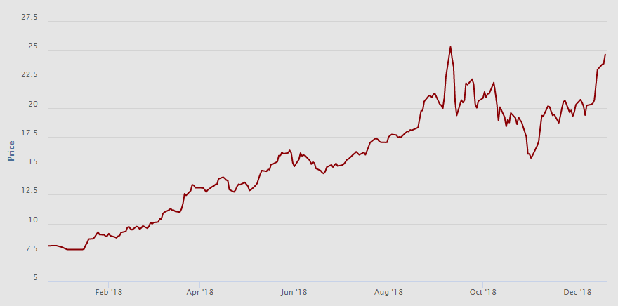 Vývoj spotové ceny (EUR/t CO2) emisních povolenek za poslední rok. Zdroj: EEX