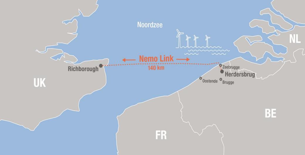 Nové vedení Nemo Link umožní lepší integraci obnovitelných zdrojů a zvýší energetickou bezpečnost Británie a Belgie. Zdroj: Elia