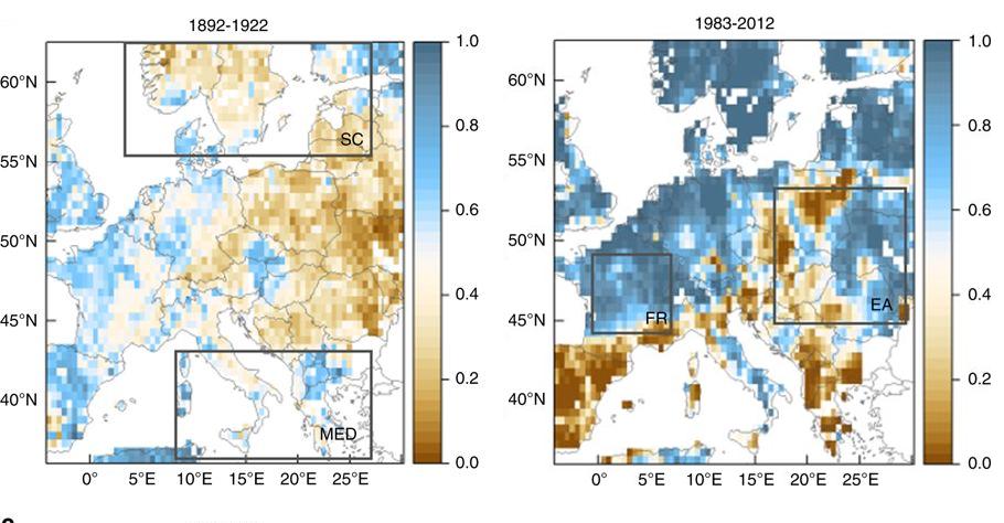 GRAF 6: V posledních 30 letech v severní Evropě srážek přibylo, v jižní Evropě ubylo. Koncem 19. Století byla většina Evropy sušší. [7]