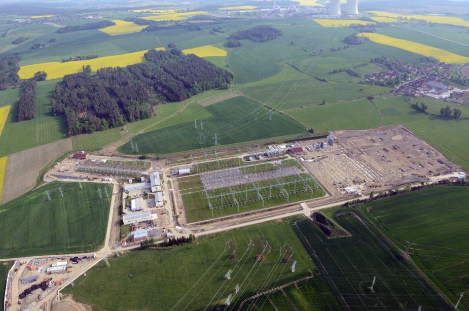 Letecký záběr na průběh rekonstrukce a rozšíření rozvodny Kočín. Zdroj: ČEPS