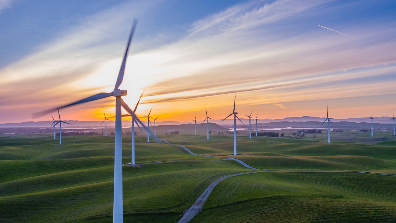 Větrné elektrárny, západ slunce