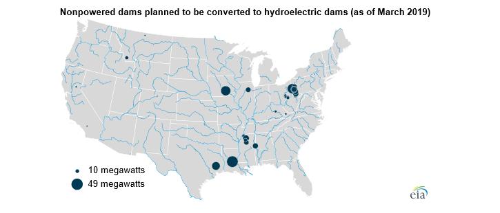 Plánované konverze přehrad v USA na vodní elektrárny (stav k březnu 2019). Zdroj: EIA
