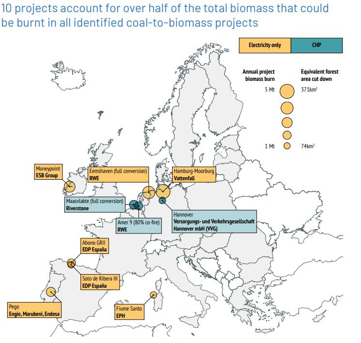 Největší projekty počítající se spalováním biomasy. Zdroj: Sandbag