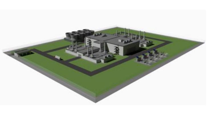 Vizualizace dispozičního plánu elektráren SEALAR se čtyřmi výrobními bloky, každý svýkonem 55 MW elektrických